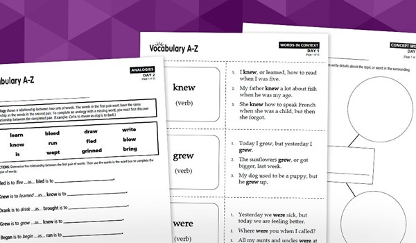Vocabulary A-Z 5-Day Lesson Plan