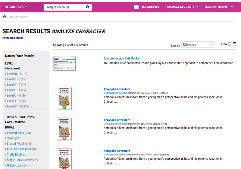 analyze character search for resources by unit