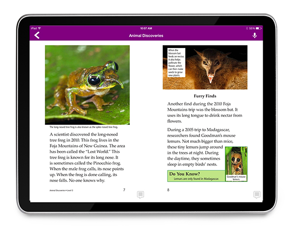 Raz-Plus Animal Discoveries eBook on a tablet