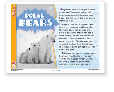 Raz-Plus Polar Bears Close Reading Pack and Passages