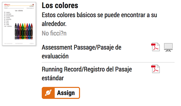 Digitally Assign Spanish Benchmark Passages in Raz-Plus