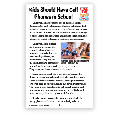Kids Should Have Cell Phones in School
