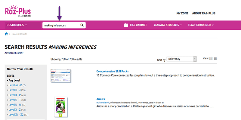A search for Making Inferences in the Raz-Plus search feature