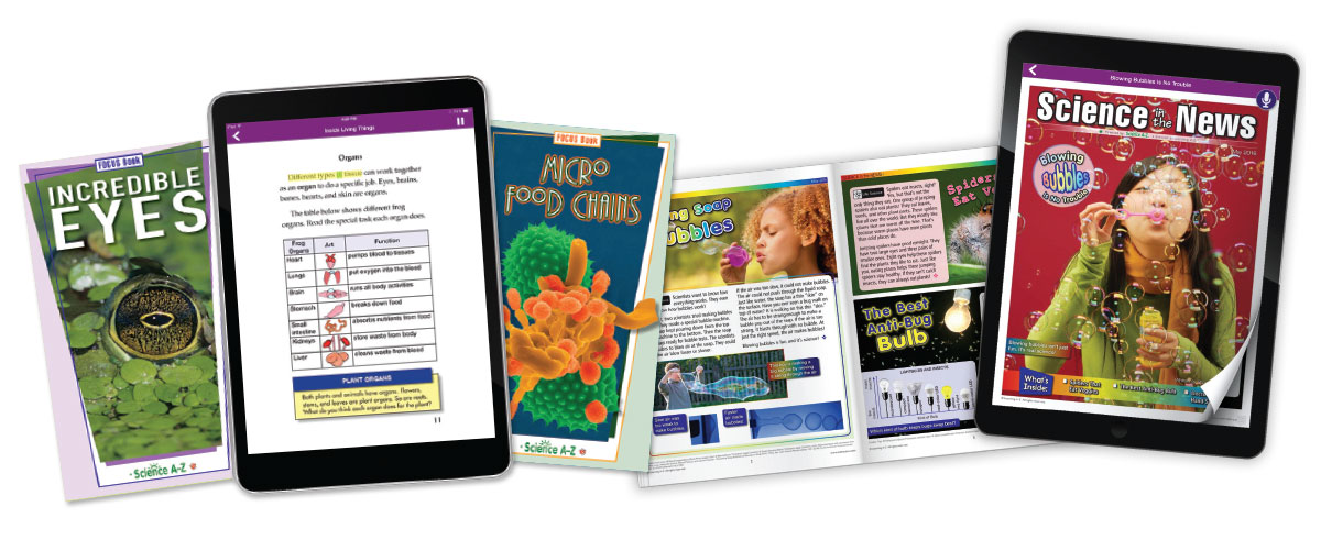 Science A-Z leveled reading resources