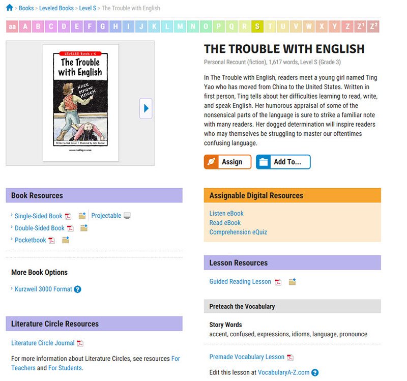 The Trouble With English leveled book